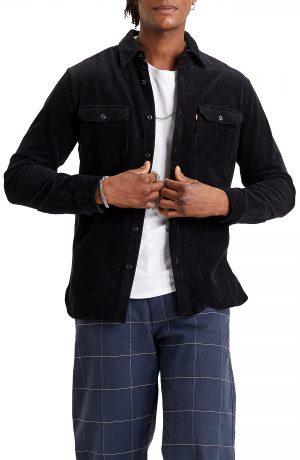 Men's Levi's Jackson Worker Corduroy Button-Up Overshirt, Size Small R - Black