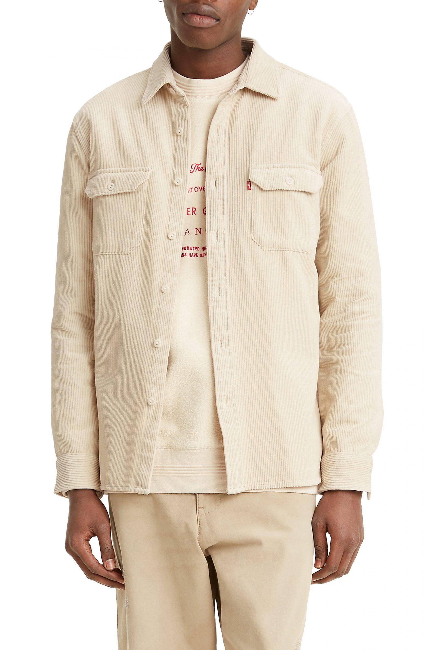Men's Levi's Jackson Worker Corduroy Button-Up Overshirt, Size X-Large R - Brown