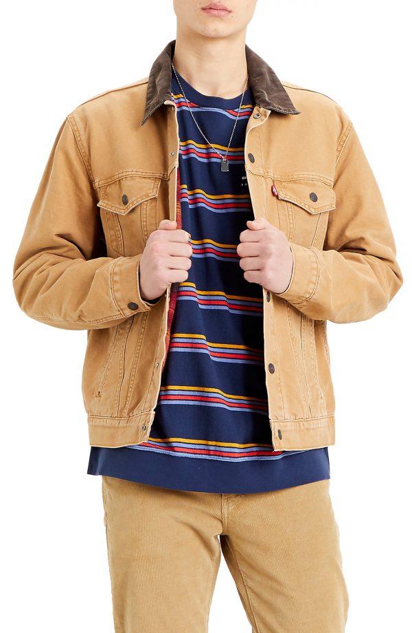Men's Levis Lined Canvas Trucker Jacket, Size Medium R - Brown