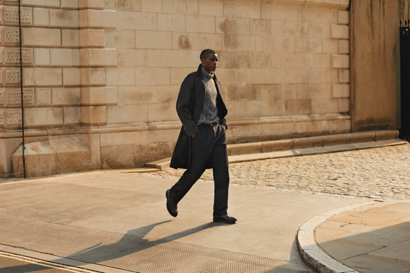 Model James Kakonge takes to the paved city streets in chic menswear from Mr Porter's fall-winter 2020 Mr P. collection.