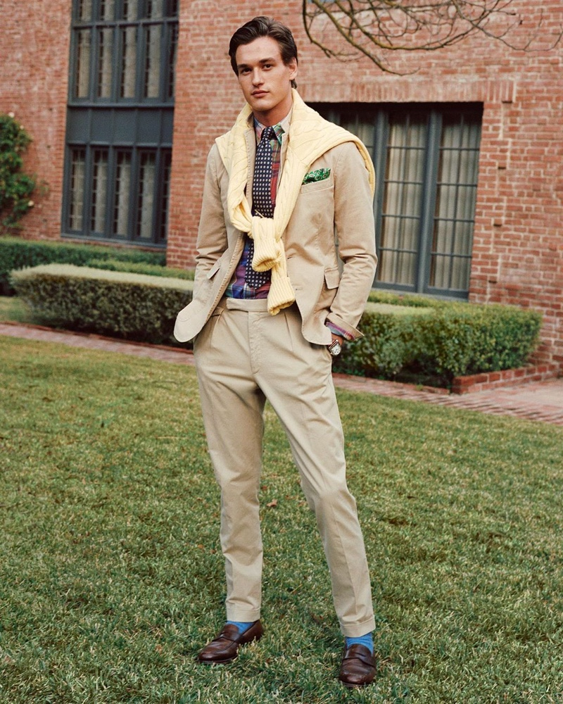 Reuniting with POLO Ralph Lauren for fall 2020, Jegor Venned models a preppy tailored look from the American brand.
