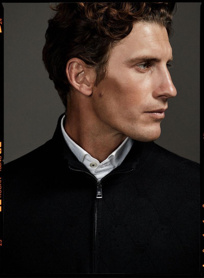 A sharp fall vision, Jaymes Triglone models Pedro del Hierro.