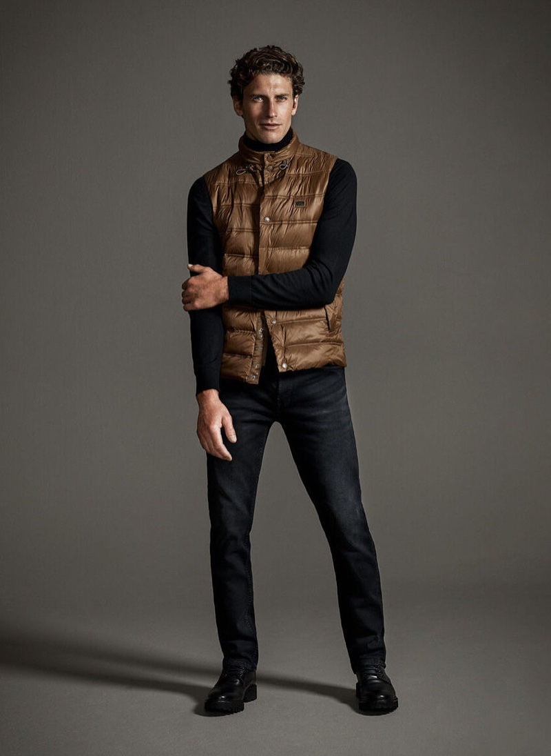 Front and center, Jaymes Triglone makes a case for comfortable but sleek fall style from Pedro del Hierro.