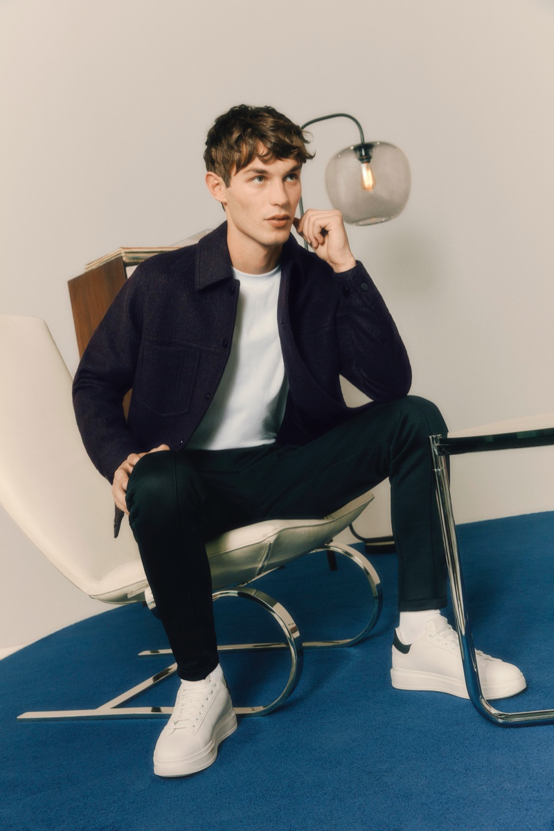 Kit Butler sports a simple but smart partywear look from River Island.
