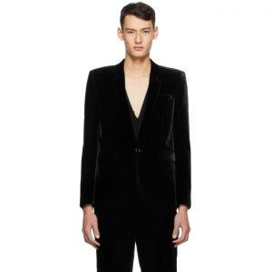 Saint Laurent Black Corduroy Long Jacket