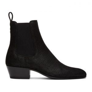 Saint Laurent Black Lizard Cole Chelsea Boots