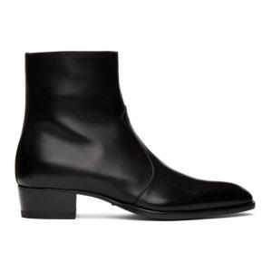 Saint Laurent Black Wyatt Zip Boots