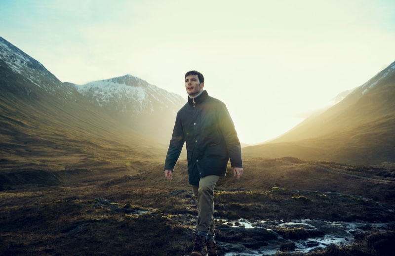 British actor Sam Claflin fronts Barbour Gold Standard's fall-winter 2020 campaign. He sports the premium brand's Supa-Border waxed jacket.