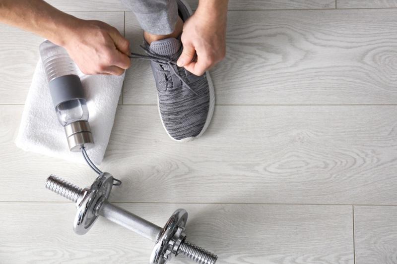 Sneaker Workout Tying Shoes Water Bottle Weight