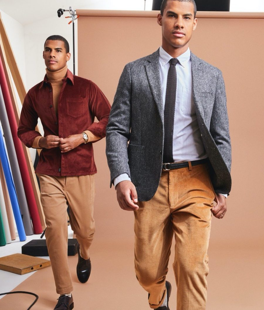 Embracing smart fall style, Vitor dons corduroy looks from Todd Snyder. Left, Victor wears a Todd Snyder Italian corduroy overshirt. Right, he sports the brand's Italian pleated cord suit trousers.