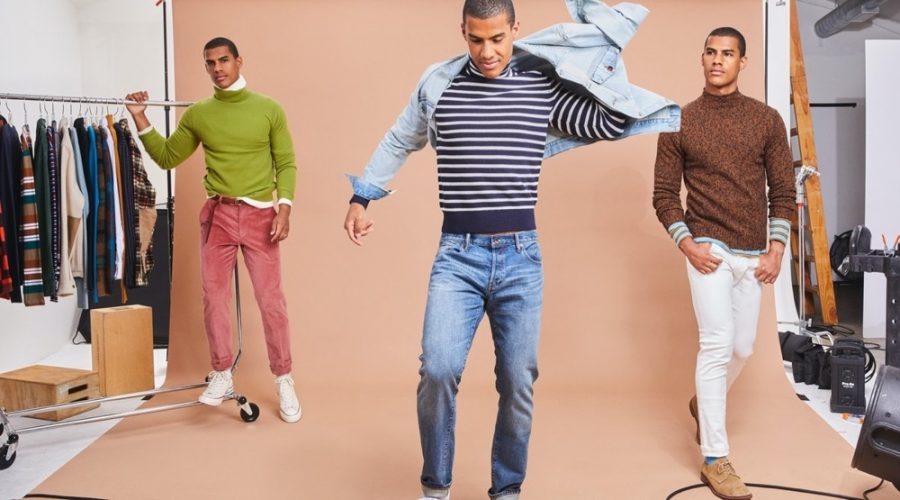 Front and center, Vitor is ready to layer for fall in turtleneck knitwear. Left to Right: Vitor models a Todd Snyder cashmere turtleneck, striped ribbed turtleneck, and marled mockneck sweater.