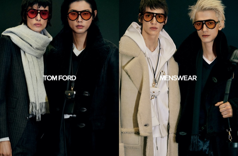 Models Joel Dent, Tae Min Park, and Gena Malinin appear in Tom Ford's fall-winter 2020 men's campaign.