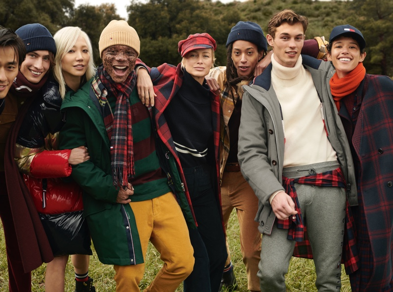 Zhao Lei, James Turlington, Soo Joo Park, Ralph Souffrant, Carolyn Murphy, Kendall Harrison, Kit Butler, and Dilone star in Tommy Hilfiger's fall-winter 2020 campaign.