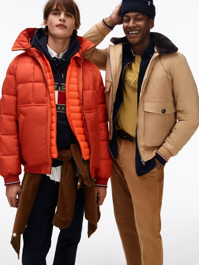 Parker van Noord and Ty Ogunkoya sport fall-winter 2020 fashions from Tommy Hilfiger.