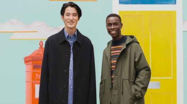 Models Hikaru Takakamo and Chimère Saliou showcase looks from the UNIQLO x JW Anderson fall-winter 2020 collection.