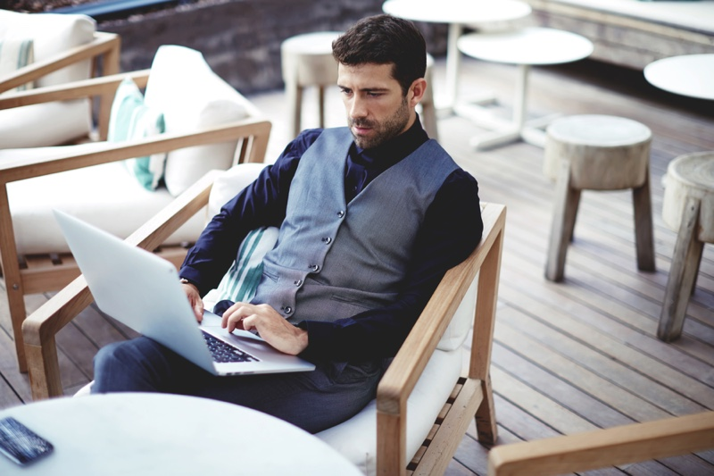 Well Dressed Man Laptop Vest Business Look