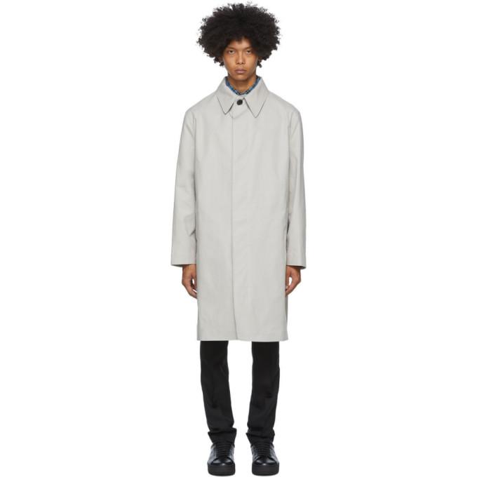 AMI Alexandre Mattiussi Beige Bonded Mac Coat | The ...