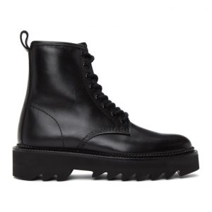 AMI Alexandre Mattiussi Black Lace-Up Ankle Boots