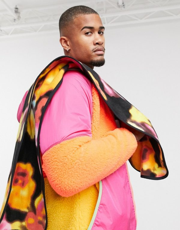 ASOS 4505 fleece scarf with floral design-Multi