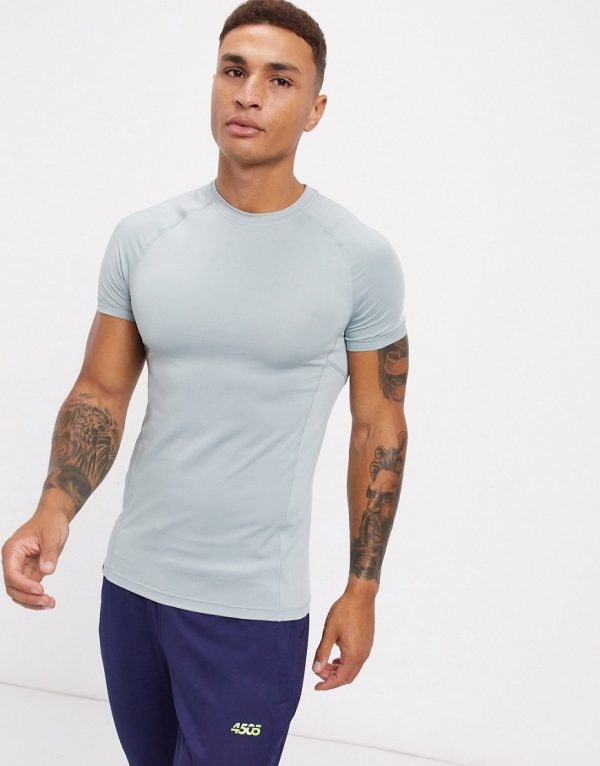ASOS 4505 icon muscle training t-shirt with quick dry in light gray