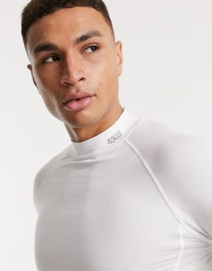 ASOS 4505 icon training base layer long sleeve t-shirt with quick dry in white