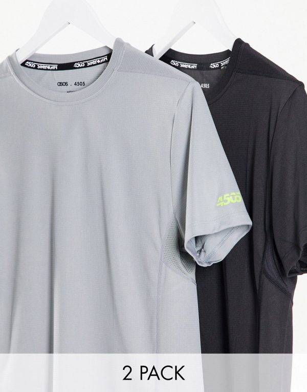 ASOS 4505 icon training t-shirt with quick dry in Black and Gray 2 pack SAVE-Multi