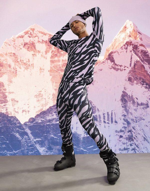 ASOS 4505 warm base layer leggings in animal print-Purple