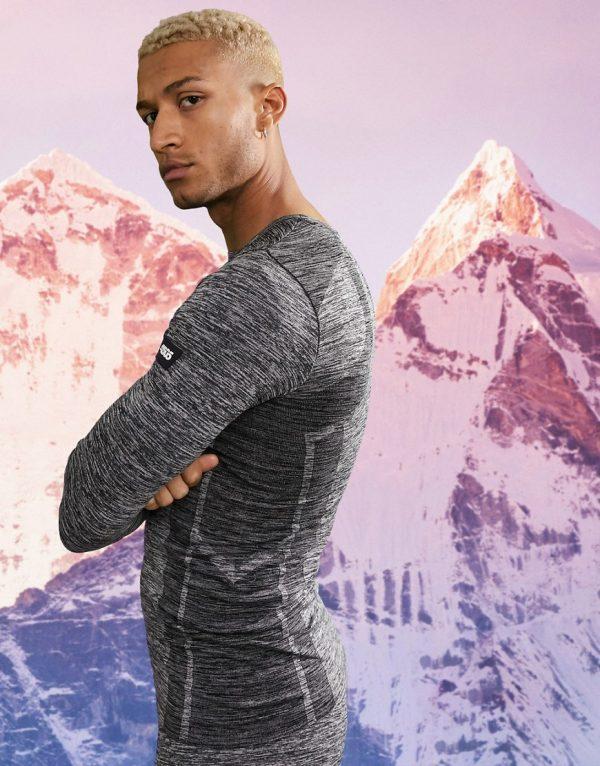 ASOS 4505 warm base layer top in seamless knit space dye-Grey