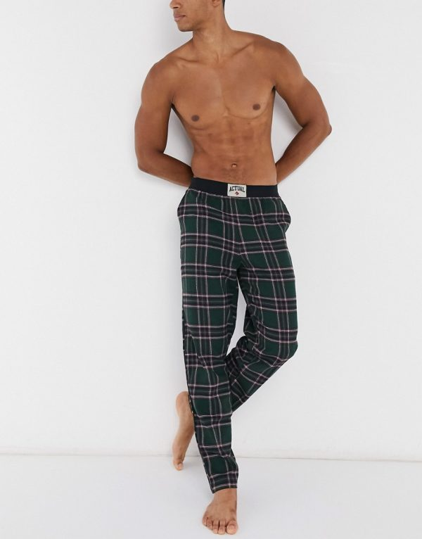 ASOS Actual lounge bottoms in classic woven check-Green