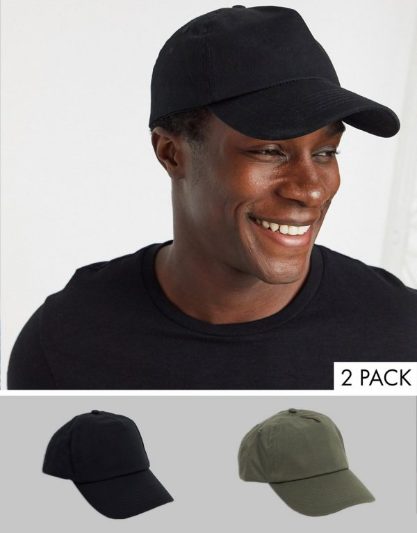 ASOS DESIGN 2 pack baseball cap in black and khaki save-Multi
