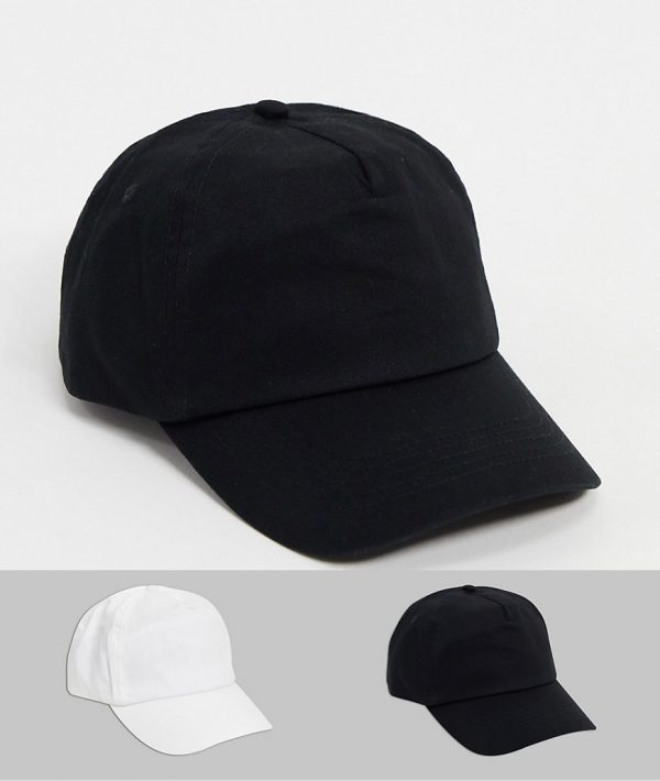 ASOS DESIGN 2 pack baseball cap in black and white save-Multi
