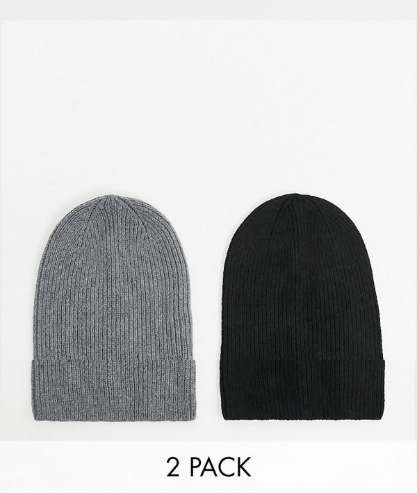 ASOS DESIGN 2 pack slouchy beanie in grey and black SAVE-Multi