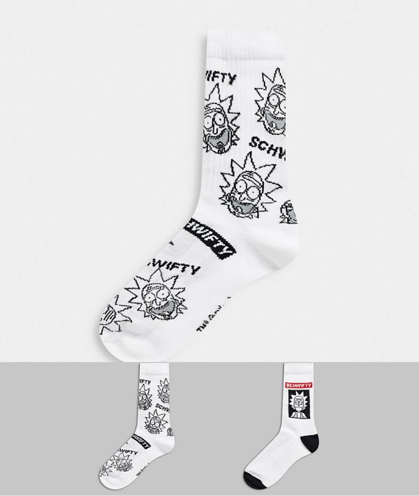 ASOS DESIGN 2 pack sports socks with rick and morty design save-White