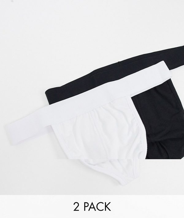 ASOS DESIGN 2 pack thongs in black & white save-Multi