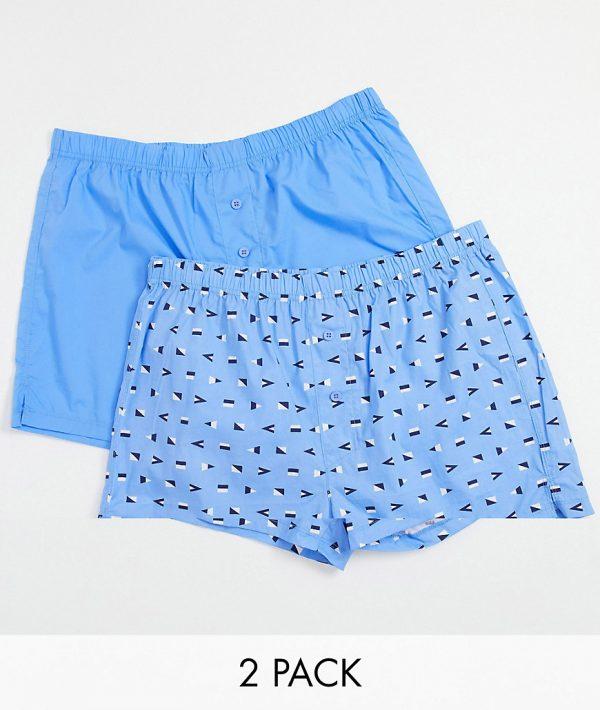 ASOS DESIGN 2 pack woven boxer shorts-Blue