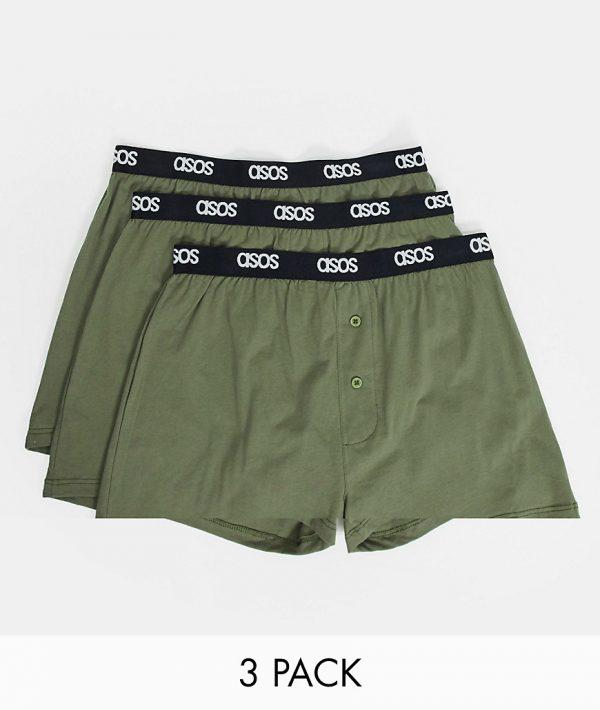 ASOS DESIGN 3-pack boxers in khaki-Multi