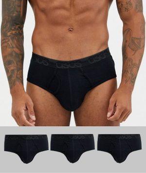 ASOS DESIGN 3 pack brief in black organic cotton with black tonal branded waistband-Multi