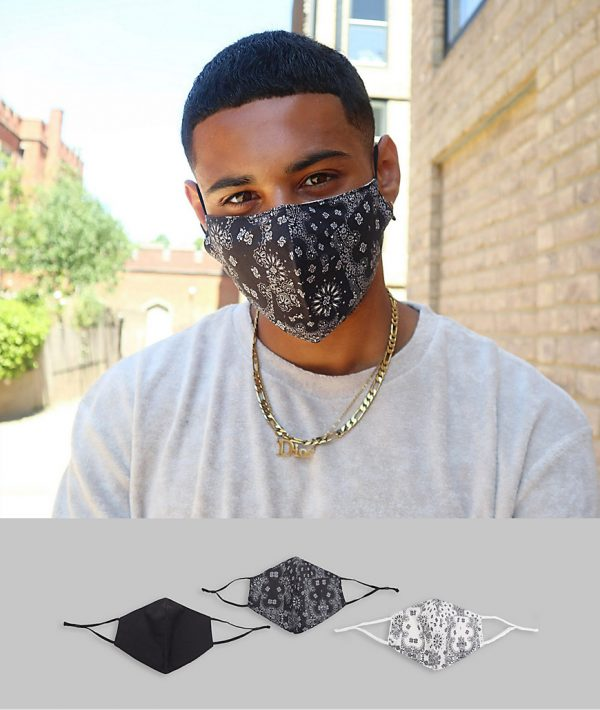 ASOS DESIGN 3 pack face coverings with adjustable straps and nose clip in monochrome bandana prints-Black