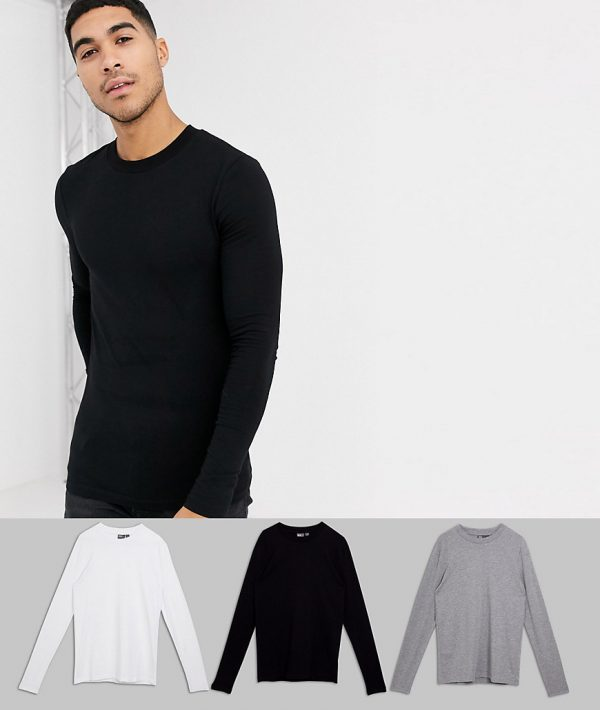 ASOS DESIGN 3 pack muscle fit long sleeve t-shirt with crew neck-Multi