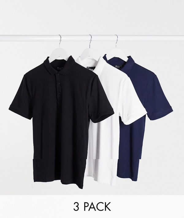 ASOS DESIGN 3 pack organic muscle fit jersey polo-Multi