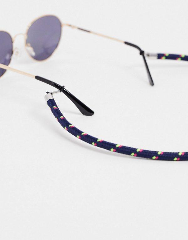 ASOS DESIGN 7mm glasses cord in navy-Black