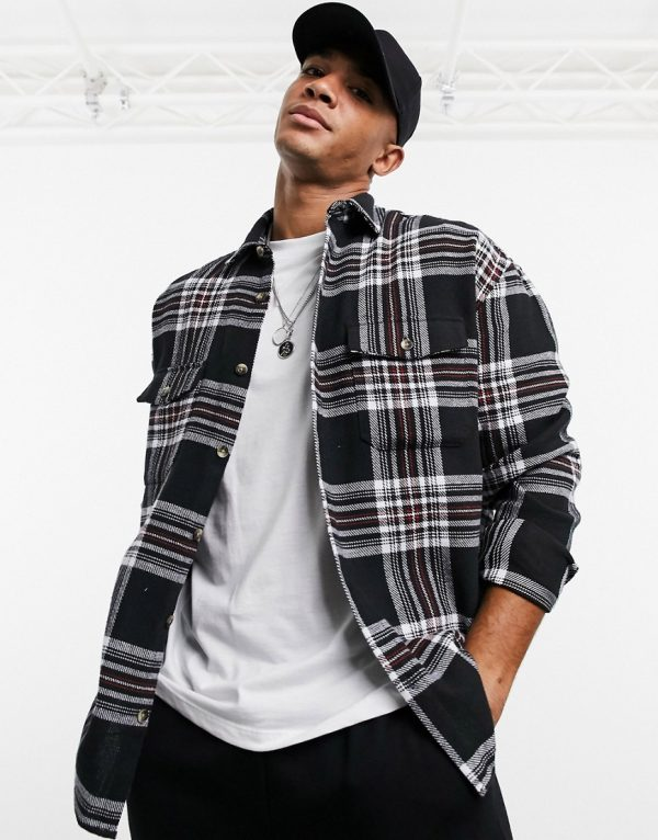 ASOS DESIGN 90s oversized brushed flannel plaid shirt in large scale tartan-Black