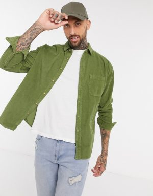 ASOS DESIGN 90s oversized cord shirt in green