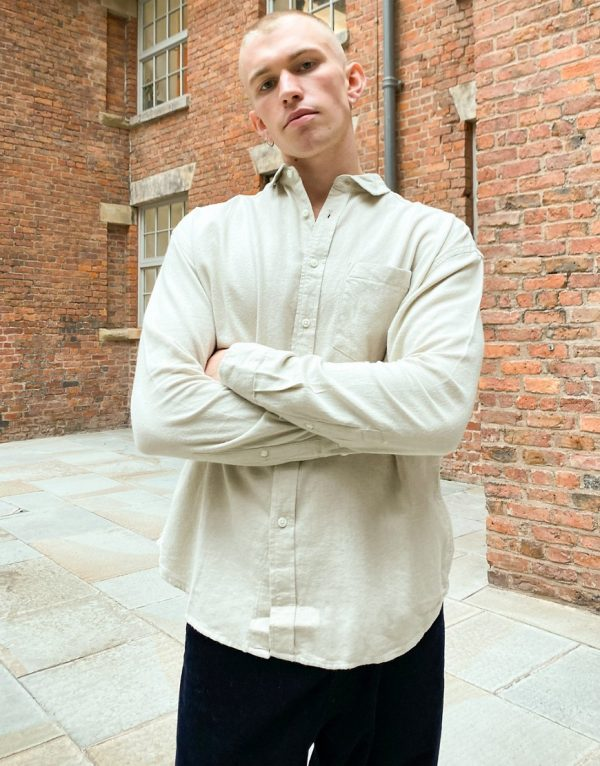 ASOS DESIGN 90s oversized flannel shirt in beige