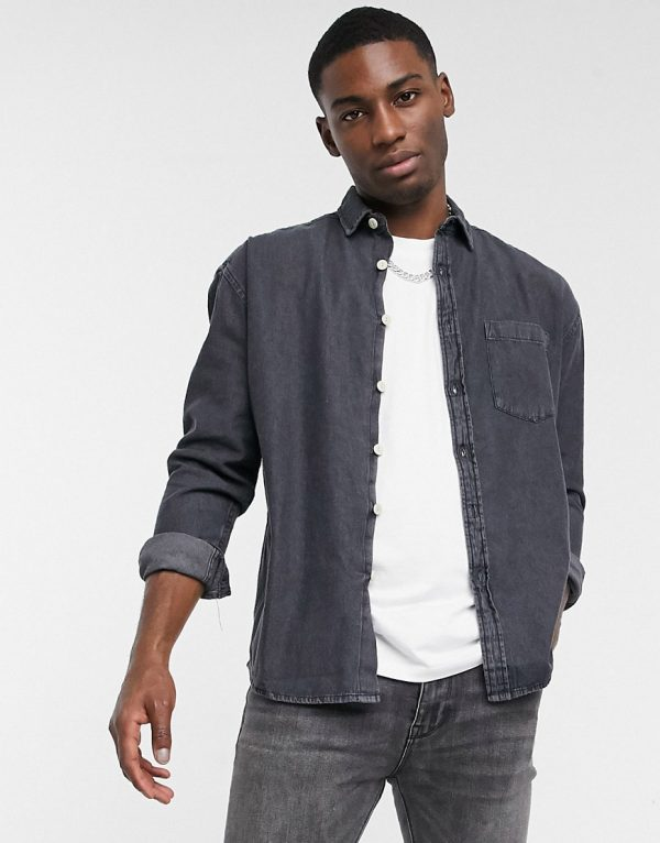 ASOS DESIGN 90s oversized organic denim shirt in black