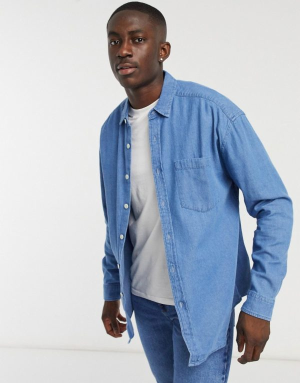 ASOS DESIGN 90s oversized organic denim shirt in mid wash-Blue