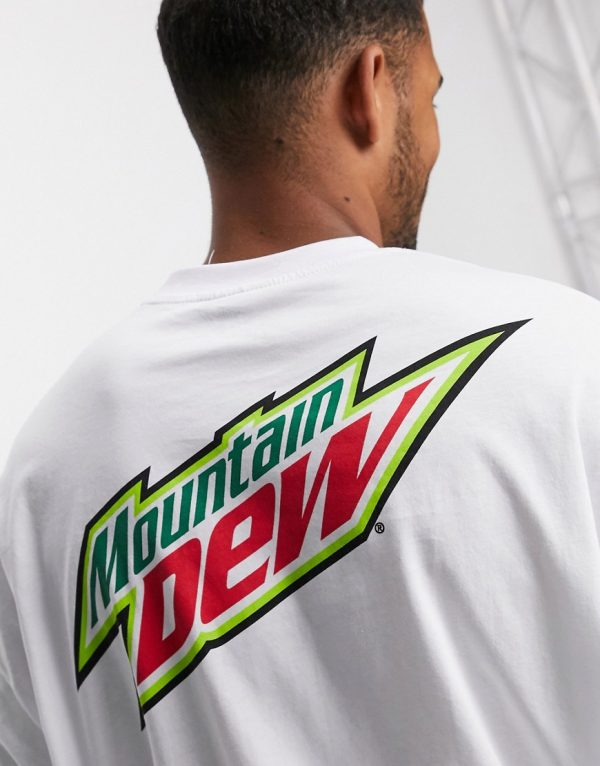 ASOS DESIGN Mountain Dew oversized t-shirt with back print in white