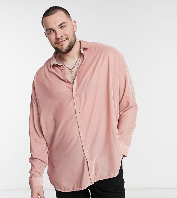 ASOS DESIGN Plus 90s oversized velvet shirt in dusky pink