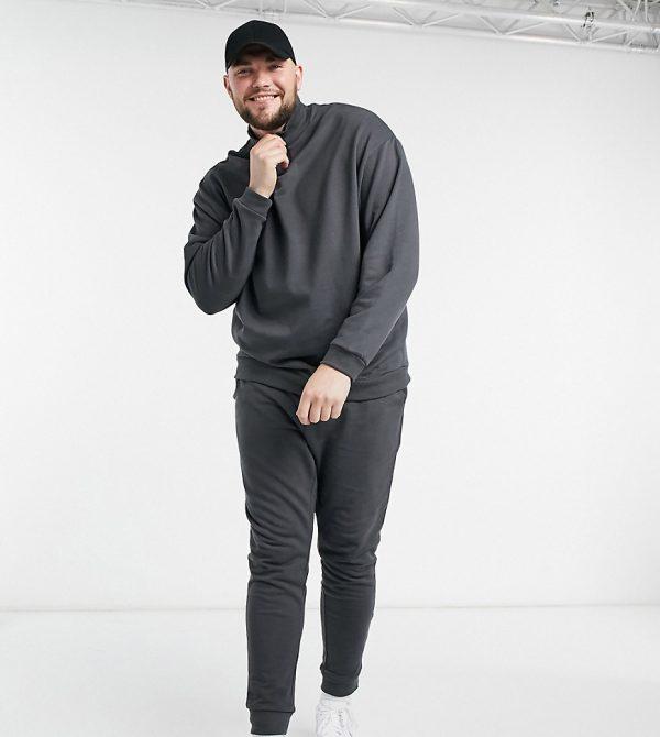 ASOS DESIGN Plus ORGANIC organic oversized tracksuit with half zip sweatshirt in washed black