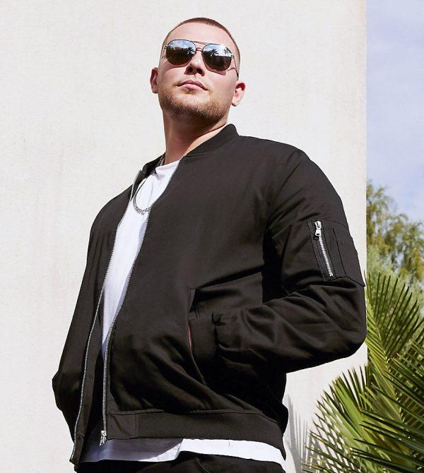 ASOS DESIGN Plus bomber jacket with MA1 pocket in black